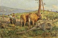 paisagem com figuras e carro de bois by acacio lino de magalhaes