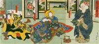 the actors mimasu daigorô iv, arashi rikan ii, ichikawa ebizô v in the play sukeroku yûen no edo zakura by hasegawa munehiro