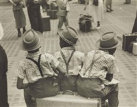 three little boys on suitcase, penn station by ruth orkin