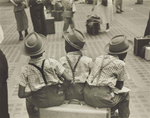 three little boys on suitcase penn station by ruth orkin