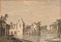 a castle with a partly ruined tower, surrounded by a moat with fishermen hauling in their nets, a church and town beyond by theodor (dirk) verryck