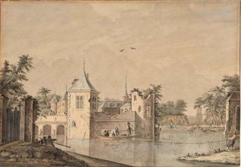 a castle with a partly ruined tower surrounded by a moat with fishermen hauling in their nets a church and town beyond by theodor dirk verryck