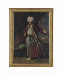 portrait of a turk, small full-length, in long, striped garments, a fur-lined coat and a turban, on a portico, a mosque beyond by andrea soldi