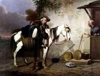 cavalier et sa monture: la halte à l'auberge by jacques-albert senave
