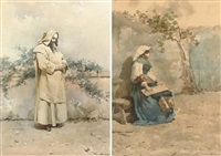 a monk in contemplation (+ a seated ciociara girl; 2 works) by alberto la monaca