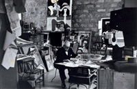 le corbusier dans son studio, paris by gisèle freund