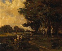 cows in pasture by henry william moss