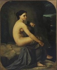 jeune femme à la lyre devant un rivage by w. fages