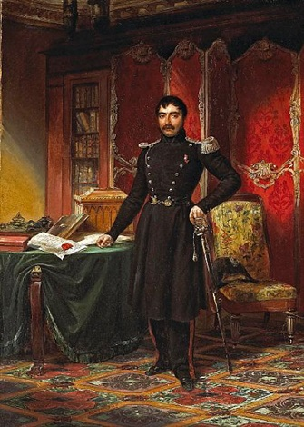 a military officer in his study with documents and books on a table by louis charles auguste couder