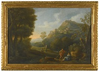 a classical landscape with figures resting in the foreground by jan frans van bloemen