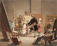 in the artist's studio by alphonse de labroue