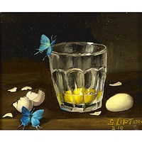 butterfly, egg and glass (+ spotted quail egg in glass; 2 works) by sondra lipton