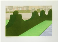 hedge and street & flower garden (from privacy plots) (2 works) by ivor abrahams