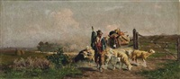 schäfer mit seiner herde und einem bepackten esel in weiter südlicher landschaft by alfredo de simoni