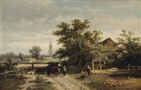 an ox-drawn cart on a country path by georgius heerebaart