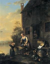 magd beim putzen von küchengeräten - junge frau auf dem gang zum wasserholen (pair) by justus juncker