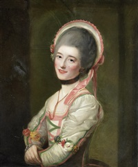 portrait of la signora (anna) zamperini in the character of cecchina in la buona figliuola, three-quarter length, in a white and pink dress and bonnet by nathaniel hone the elder