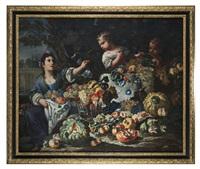 natura morta di frutta con giovane e due bambini by giovanni paolo castelli and antonio mercurio amorosi