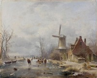 patineurs près d'un moulin by andreas schelfhout