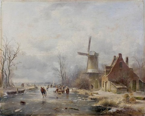 patineurs près dun moulin by andreas schelfhout