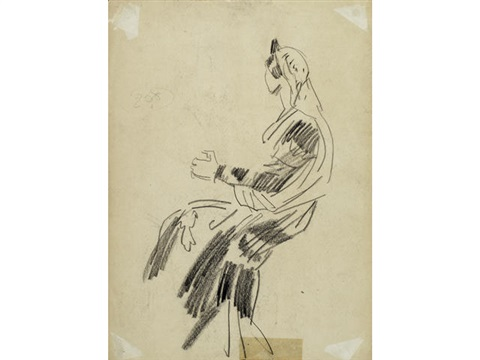 john gielgud at the regent theatre a seated lady verso by dame laura knight