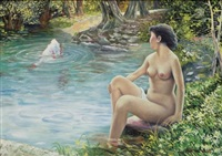 nude woman by the river by wang xingwei