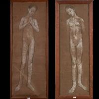 études de jeune fille nue (2 studies) by edgard tytgat