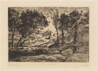 souvenir de toscane. - campagne boisée (2 works) by jean-baptiste-camille corot