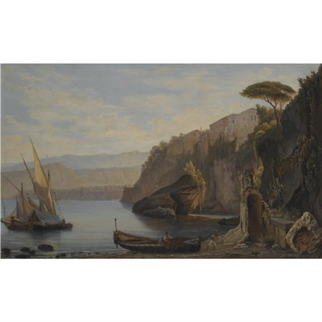 a sailing boat moored of the amalfi coast by alfred von ernst