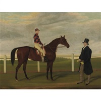 """merry lass"", rees up, with owner mr. davis on brecon racecourse by james (of bath) loder"