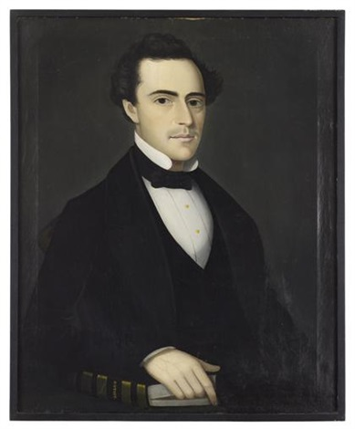 portrait of a young gentleman with history book by ammi phillips