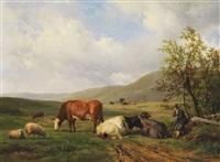 hirte mit kühen und schafen in weiter landschaft by hendrik van de sande bakhuyzen