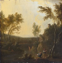 two figures beside a river, a bridge beyond by frederick de moucheron