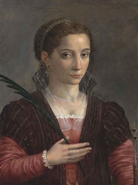 portrait of a lady, as saint lucy, half-length, in a red embroidered dress and brown mantle by sofonisba anguissola