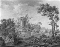 paysage avec temple en ruine et villageoises by claude louis langlois de sézanne