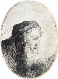 bearded old man, profile to right by ferdinand bol