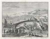 stranding van een walfisch van 70 voeten lang (after jacob matham) by bernard picart