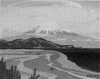 mt. fuji seen from miho by beian ichikawa