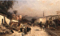 a turkish village scene by hermann (august) kruger