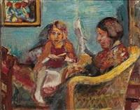 lesende pike og kvinne i interior by severin grande