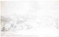 a view in the lake district, possibly folly bridge, borrowdale by thomas gainsborough