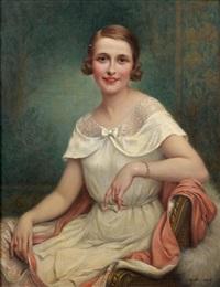 3e579f0c4ef Portrait de femme en robe blanche. François ...