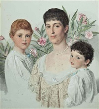 portrait of a mother and her two children by anthony frederick augustus sandys