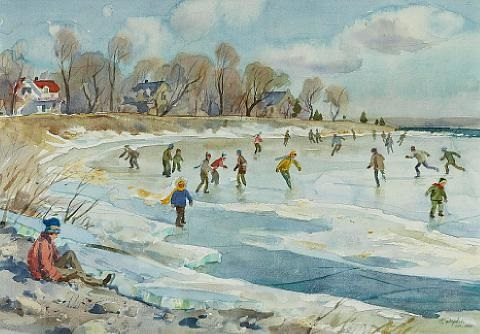 skating on lake st louis at dorval pq by henry john simpkins