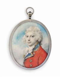 a young gentleman, previously called frederick, duke of york, in gold-edged red coat with blue facings and gold buttons, knotted white cravat by richard cosway