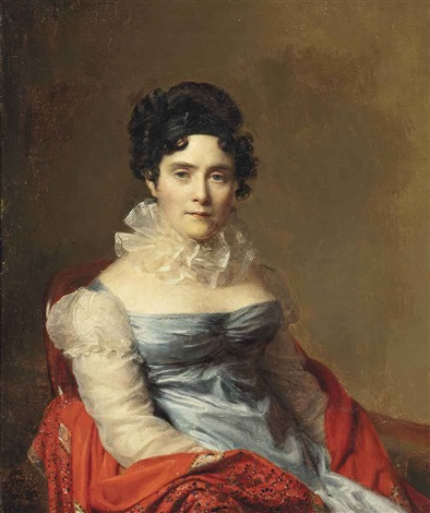 portrait of a lady, half-length, in a blue dress and ruff by firmin massot