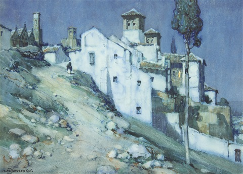 views of a spanish village pair by a moulton foweraker