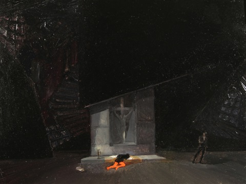 stage design for shakespeares hamlet by natan isaevich altman