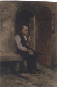 alter mann mit pfeife by carl johann arnold