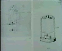 2 bll.: entwurfszeichnungen fur eine nachttischlampe by otto rittweger
